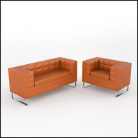 3d contemporary tufted sofa armchair model