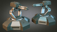 machinegun tower scifi 3d dxf