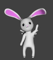 3d model cute winged bunny