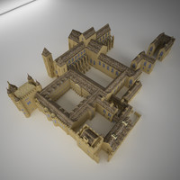 3d model medieval castle palace cathedral