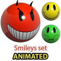 3d model glowing smileys loaders set