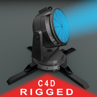 rigged searchlight light search c4d