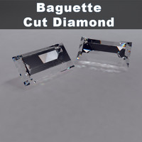 3d baguette cut diamond model