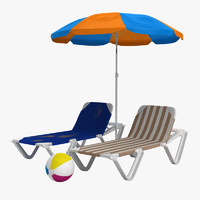sunbathing beach chair umbrella 3d model