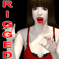3d model vampire girl rigged -
