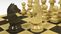 3d german knight staunton chess set model
