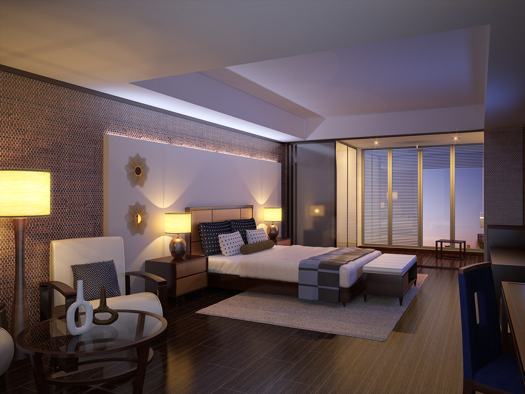 3d model interior scene modern hotel room for Dining room 3d max interior scenes