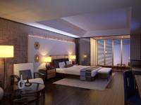 interior scene modern hotel room obj
