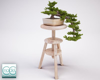 3d model bonsai stool