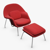 3d knoll womb armchair ottoman model