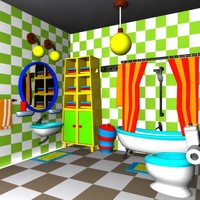 3d cartoon bathroom interior model