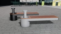 outdoor bench 3d max