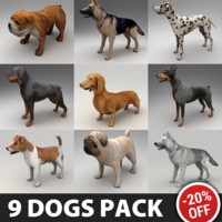 9 Rigged Dogs Pack