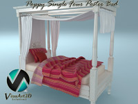 3d poppy single poster bed model
