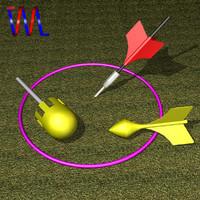 3d model lawn darts set