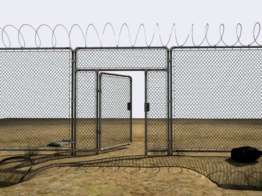 Abandoned perimeter 3d model for 3d fence