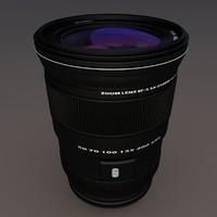 3d camera lens riged iris model