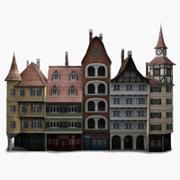 3ds max low-poly houses facades