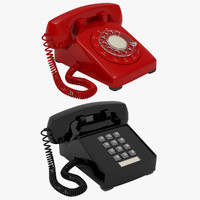 2 retro phones set 3d model