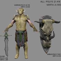 fantasy warrior fbx
