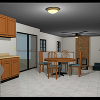 3d of furnished house rigged