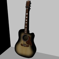 3d acoustic gibson western guitar model
