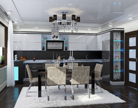 3d modern interior kitchen