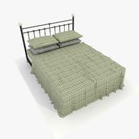 3d model metal bed checkered