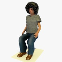 3d realistically seated african male