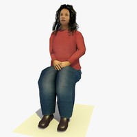 3d realistically seated african female body model