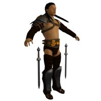 Low poly Light Gladiator - Brown Tattered Armor