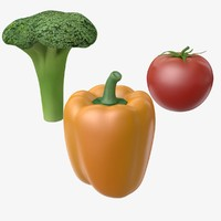 3d model broccoli tomato pepper
