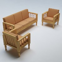 sofa set wooden 3d max
