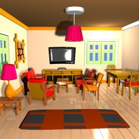 Cartoon Living Room Interior