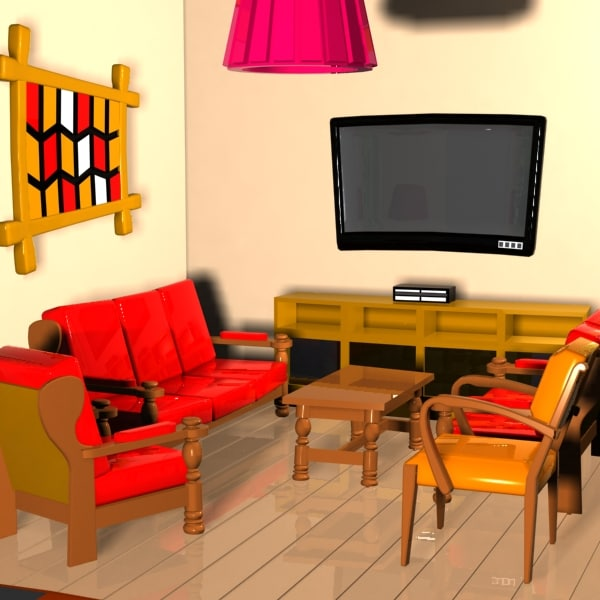 Cartoon Living Room 3ds Cartoon Living Room Interior By