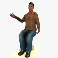 3d model realistically seated african male