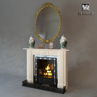 fireplace art deco 3d max