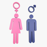 3d male female symbols model