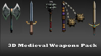 medieval weapons mace sword 3d model
