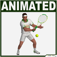 3d model racket tennis player cg