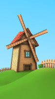 3d cartoon windmill