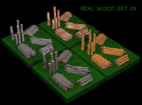 real wood set 3d model