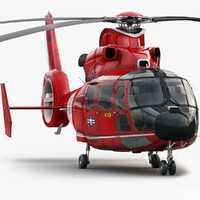 eurocopter 365 rescue helicopter 3d model