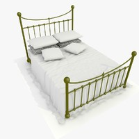 3ds max metal bed white sheets