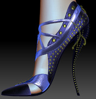 realistic female shoes 3d model