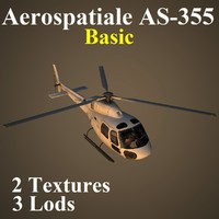 aerospatiale basic helicopter 3d max