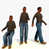 walking african male b 3d 3ds