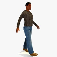 3d model realistically walking african male