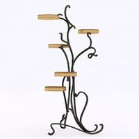 3d model iron pedestal flowers