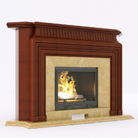 3d model corner wood fireplace
